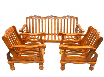 Teakwood 5 3 1 Seater Melamine Finish Wooden Sofa Set With