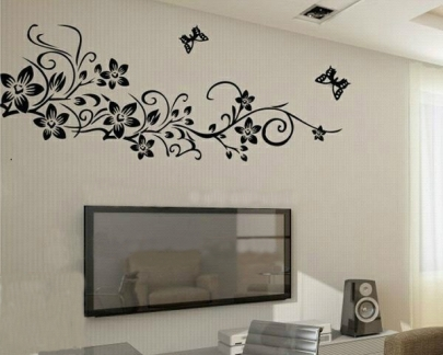 wall painting 10 x 10 single color floral design wall paint. Black Bedroom Furniture Sets. Home Design Ideas