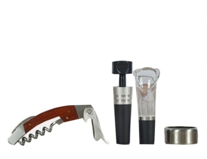 Wine Opener Set - Oval Shaped Leather Box