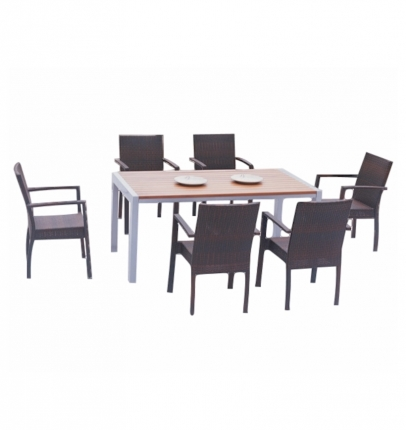 Dining Table Set (6 Chairs + 1 Table) - Rattan