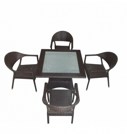 Dining Table Set (4 Chairs + 1 Table) - Rattan