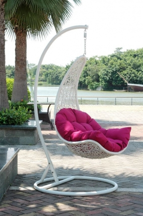 Rattan Swing with Frame & Cushion