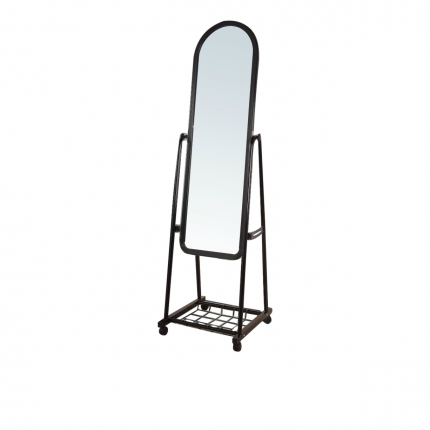 Arc Top Standing Mirror with Wheels